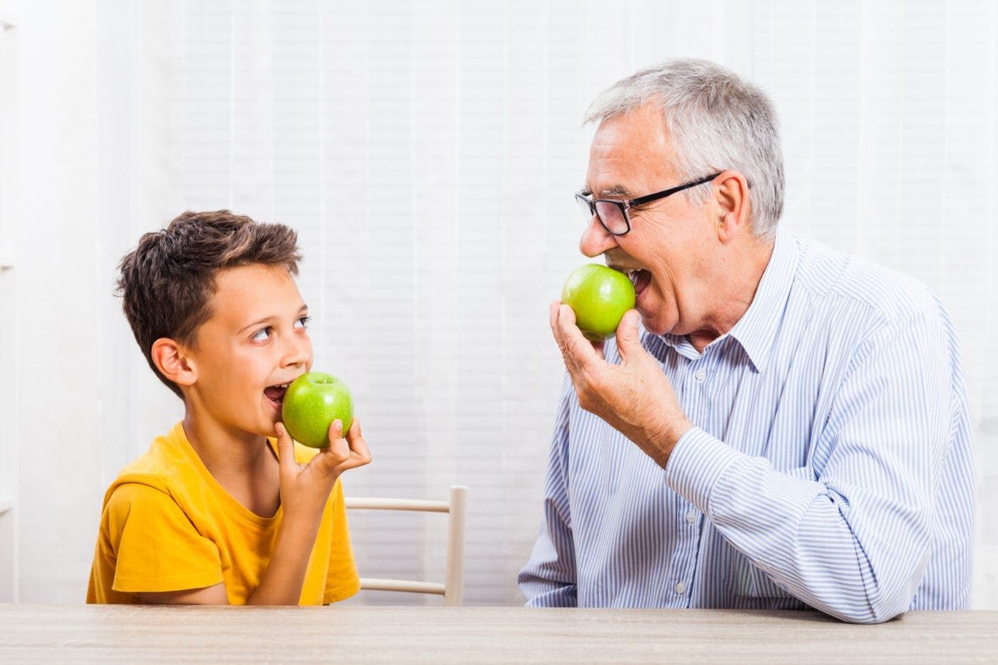 Wootton Bridge Grandfather And Child Eating Apples
