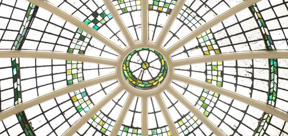 Stained Glass Dome Detail Up Close